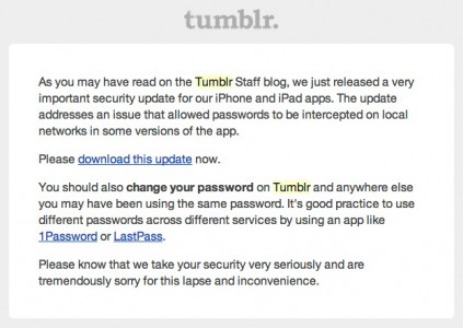 Tumblr Security Mail